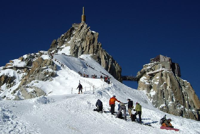 Descending the Midi Arête onto the top of the Vallée Blanche