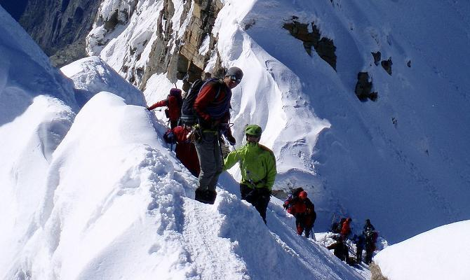 Icicle groups on summit ridge of Gran Paradiso