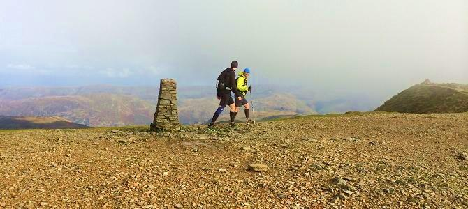 Running over the summit of Helvellyn on the Bob Graham Round route