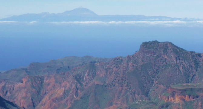 Looking across to Mt Teide on Tenerife from Tejada on Gran Canaria