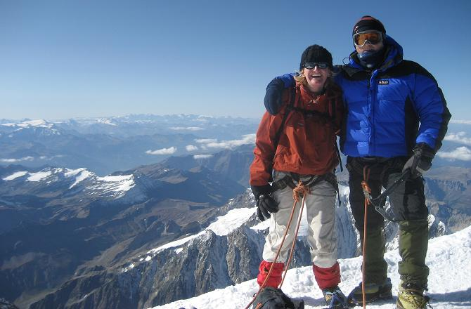 Jo & Jonathan on the summit of Mont Blanc 4810m, having climbed via the Gouter Route.