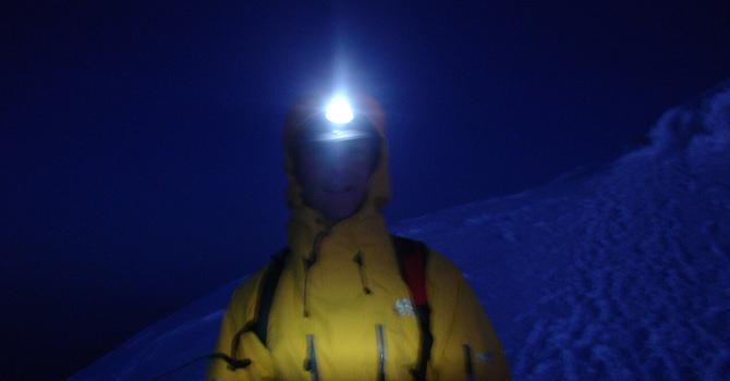 Climber setting out in the dark for Mont Blanc