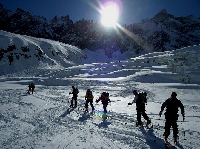 Group ski touring up the glacier